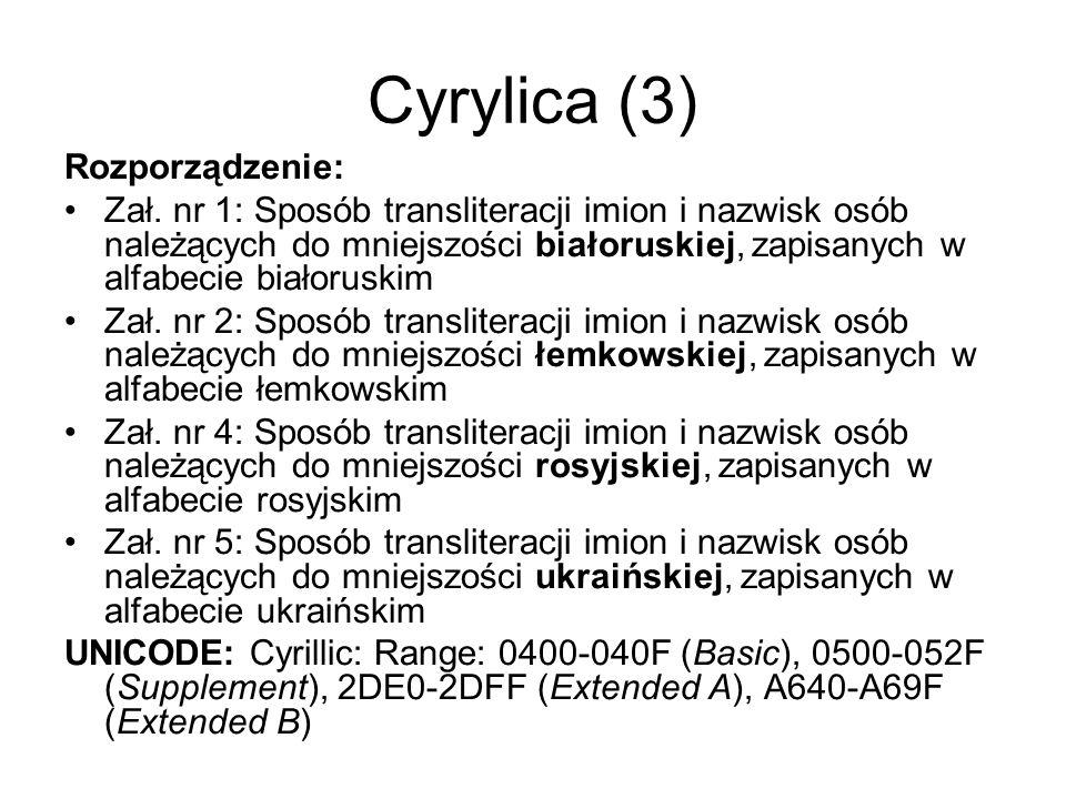 Cyrylica (3) Rozporządzenie: Zał. nr 1: Sposób transliteracji imion i nazwisk osób należących do mniejszości białoruskiej, zapisanych w alfabecie biał