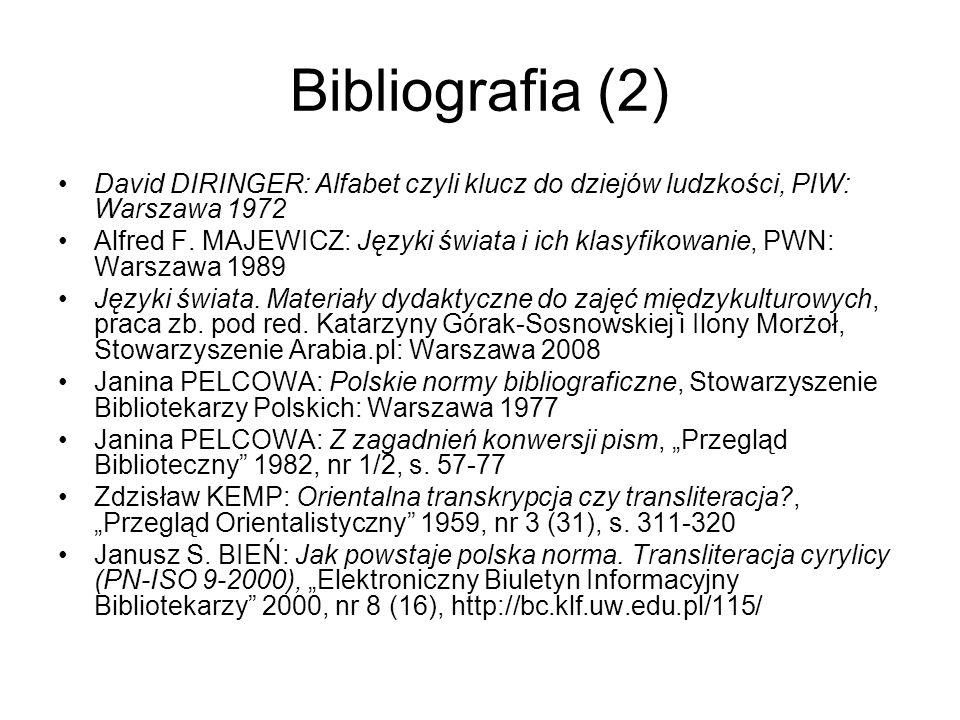 Bibliografia (2) David DIRINGER: Alfabet czyli klucz do dziejów ludzkości, PIW: Warszawa 1972 Alfred F. MAJEWICZ: Języki świata i ich klasyfikowanie,