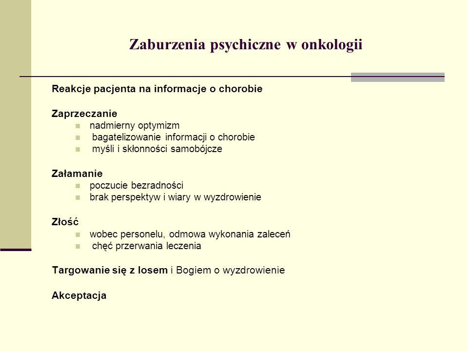 Zaburzenia psychiczne w onkologii Reakcje pacjenta na informacje o chorobie Zaprzeczanie nadmierny optymizm bagatelizowanie informacji o chorobie myśl