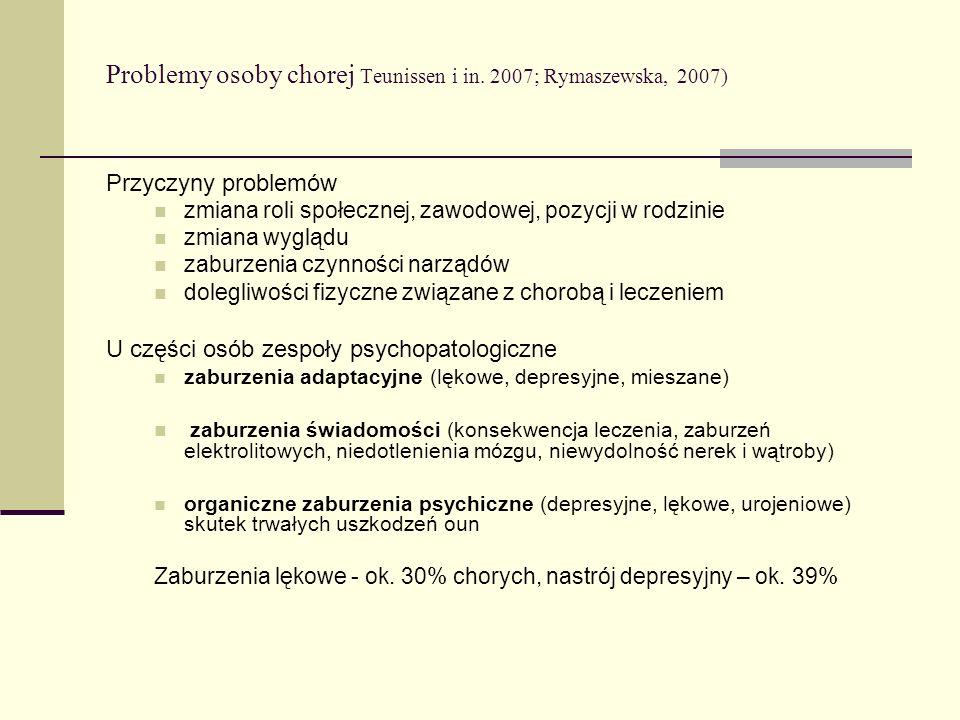 Problemy osoby chorej Teunissen i in. 2007; Rymaszewska, 2007) Przyczyny problemów zmiana roli społecznej, zawodowej, pozycji w rodzinie zmiana wygląd