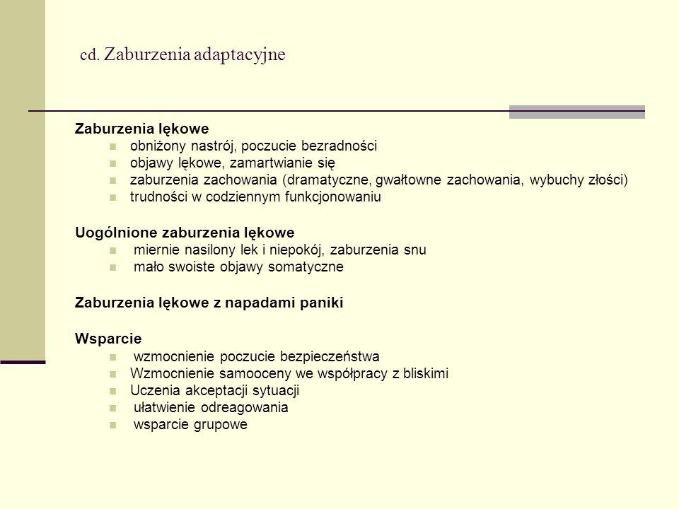 cd. Zaburzenia adaptacyjne Zaburzenia lękowe obniżony nastrój, poczucie bezradności objawy lękowe, zamartwianie się zaburzenia zachowania (dramatyczne