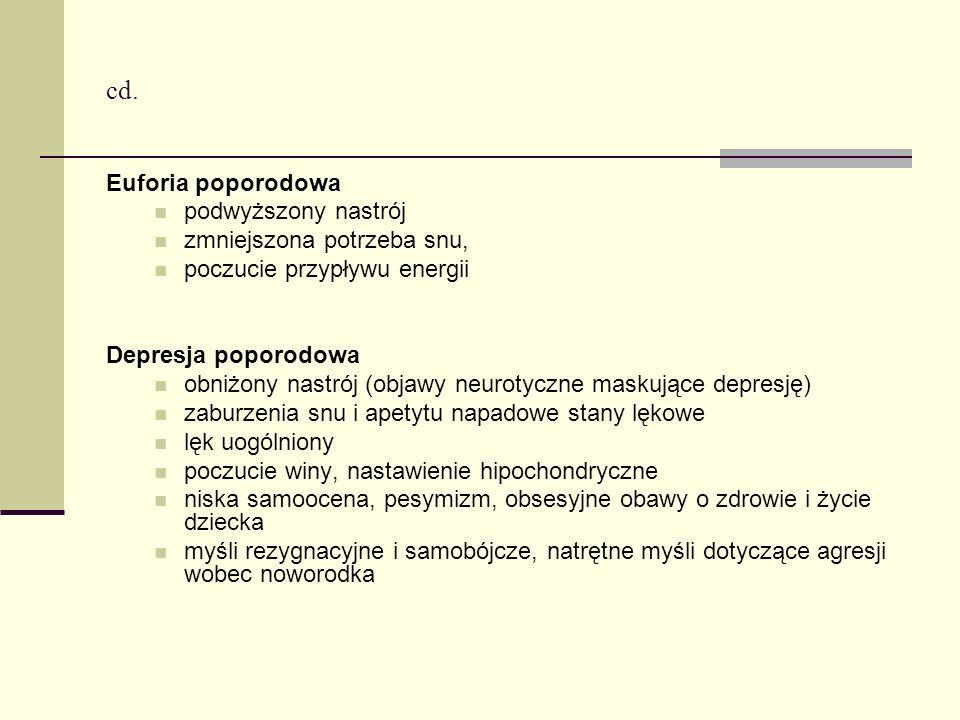 cd. Euforia poporodowa podwyższony nastrój zmniejszona potrzeba snu, poczucie przypływu energii Depresja poporodowa obniżony nastrój (objawy neurotycz