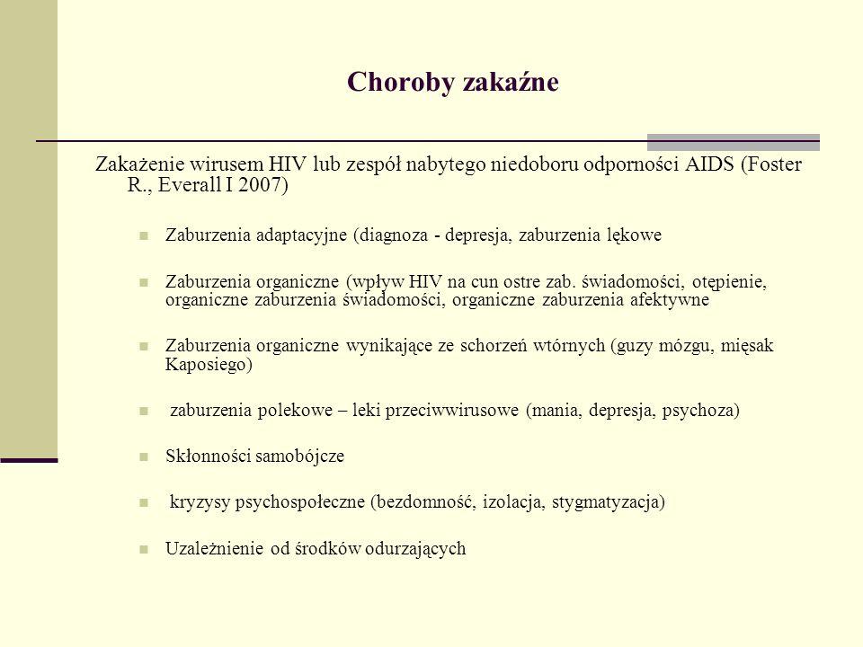 Choroby zakaźne Zakażenie wirusem HIV lub zespół nabytego niedoboru odporności AIDS (Foster R., Everall I 2007) Zaburzenia adaptacyjne (diagnoza - dep