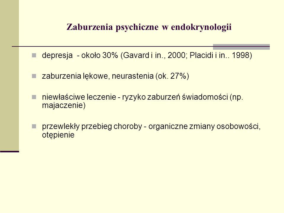Zaburzenia psychiczne w endokrynologii depresja - około 30% (Gavard i in., 2000; Placidi i in.. 1998) zaburzenia lękowe, neurastenia (ok. 27%) niewłaś