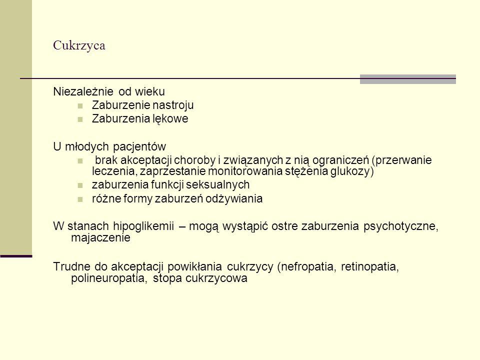 Cukrzyca Niezależnie od wieku Zaburzenie nastroju Zaburzenia lękowe U młodych pacjentów brak akceptacji choroby i związanych z nią ograniczeń (przerwa