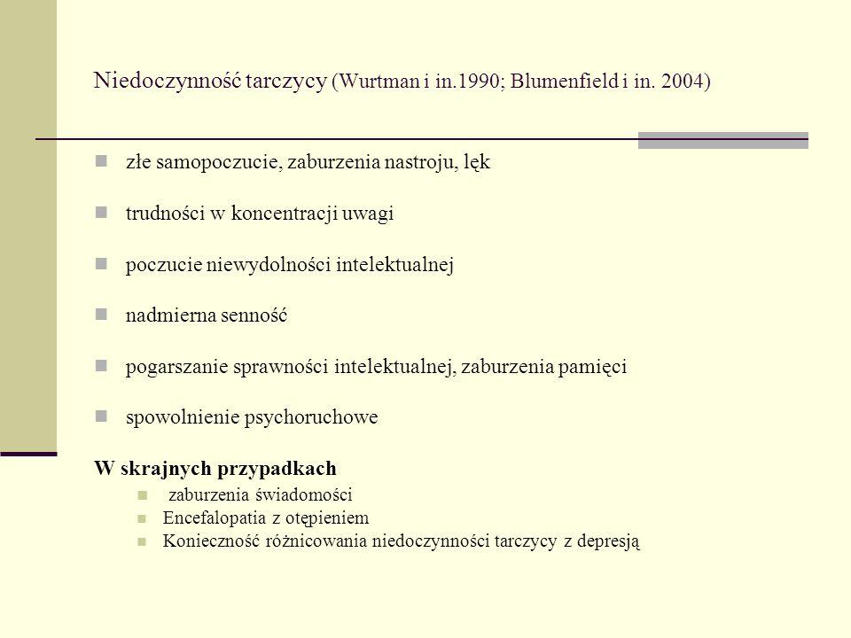 Niedoczynność tarczycy (Wurtman i in.1990; Blumenfield i in. 2004) złe samopoczucie, zaburzenia nastroju, lęk trudności w koncentracji uwagi poczucie