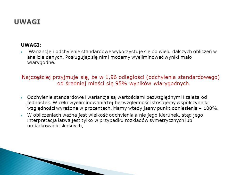 UWAGI: Wariancję i odchylenie standardowe wykorzystuje się do wielu dalszych obliczeń w analizie danych.
