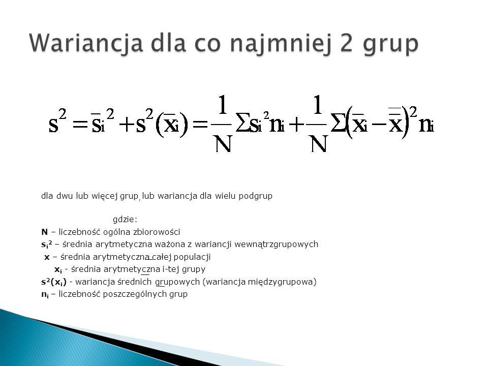dla dwu lub więcej grup, lub wariancja dla wielu podgrup gdzie: N – liczebność ogólna zbiorowości s i 2 – średnia arytmetyczna ważona z wariancji wewnątrzgrupowych x – średnia arytmetyczna całej populacji x i - średnia arytmetyczna i-tej grupy s 2 (x i ) - wariancja średnich grupowych (wariancja międzygrupowa) n i – liczebność poszczególnych grup