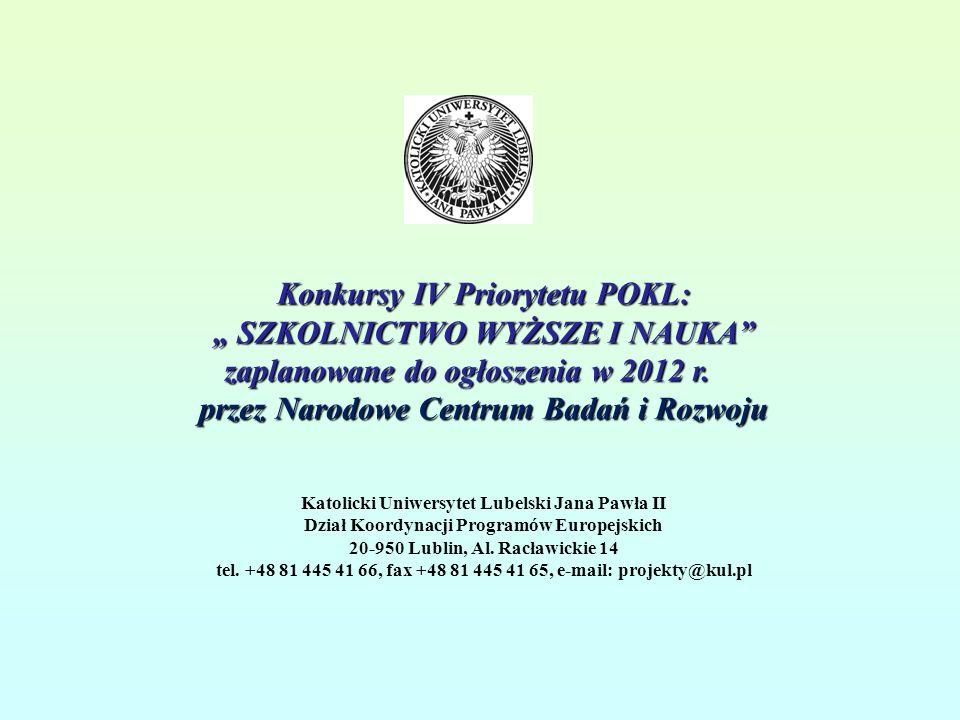 Konkursy IV Priorytetu POKL: SZKOLNICTWO WYŻSZE I NAUKA zaplanowane do ogłoszenia w 2012 r.