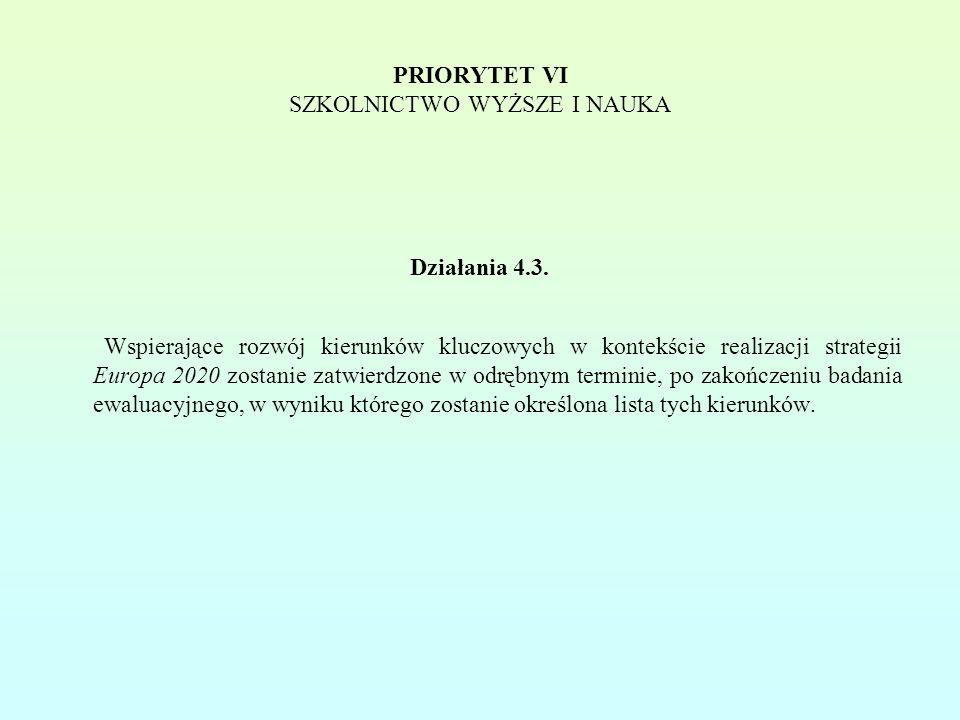 PRIORYTET VI SZKOLNICTWO WYŻSZE I NAUKA Działania 4.3.