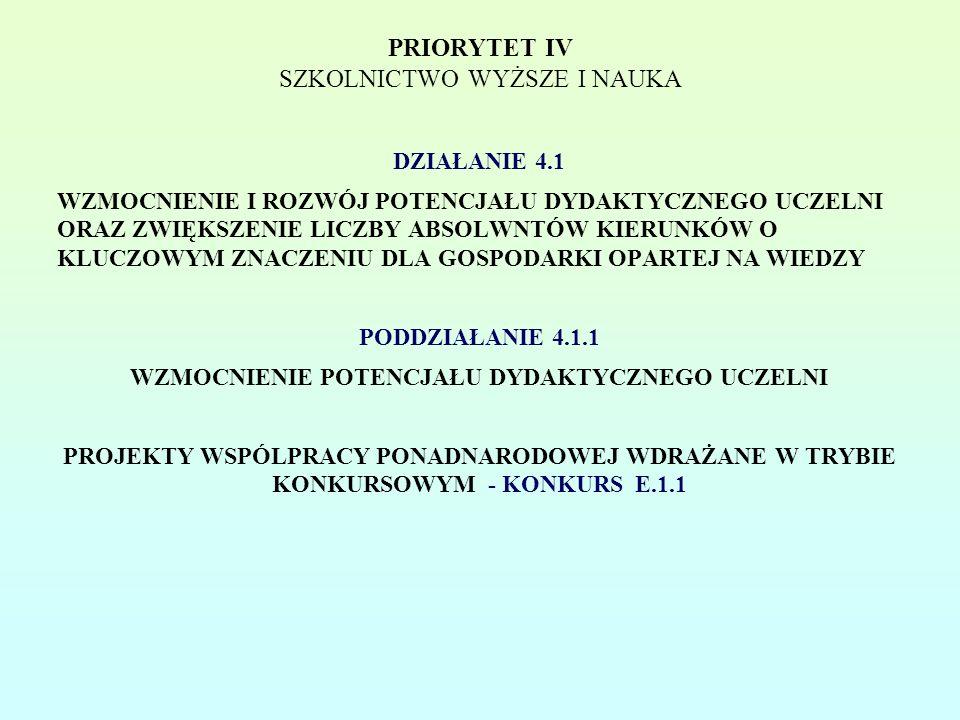 PRIORYTET IV SZKOLNICTWO WYŻSZE I NAUKA DZIAŁANIE 4.1 WZMOCNIENIE I ROZWÓJ POTENCJAŁU DYDAKTYCZNEGO UCZELNI ORAZ ZWIĘKSZENIE LICZBY ABSOLWNTÓW KIERUNKÓW O KLUCZOWYM ZNACZENIU DLA GOSPODARKI OPARTEJ NA WIEDZY PODDZIAŁANIE 4.1.1 WZMOCNIENIE POTENCJAŁU DYDAKTYCZNEGO UCZELNI PROJEKTY WSPÓLPRACY PONADNARODOWEJ WDRAŻANE W TRYBIE KONKURSOWYM - KONKURS E.1.1