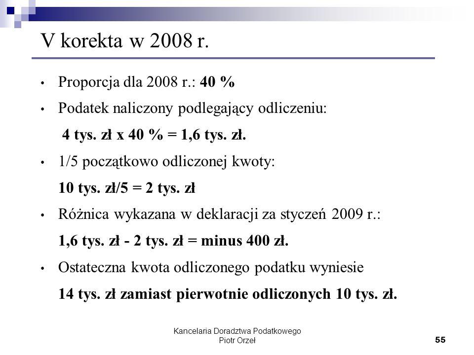 Kancelaria Doradztwa Podatkowego Piotr Orzeł 55 V korekta w 2008 r. Proporcja dla 2008 r.: 40 % Podatek naliczony podlegający odliczeniu: 4 tys. zł x