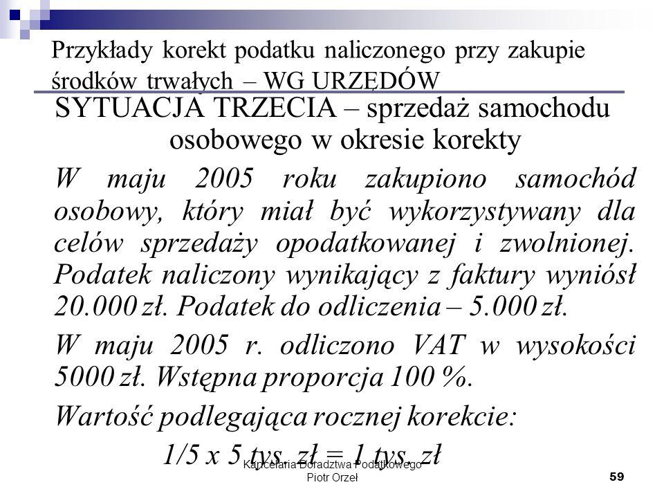 Kancelaria Doradztwa Podatkowego Piotr Orzeł 59 Przykłady korekt podatku naliczonego przy zakupie środków trwałych – WG URZĘDÓW SYTUACJA TRZECIA – spr