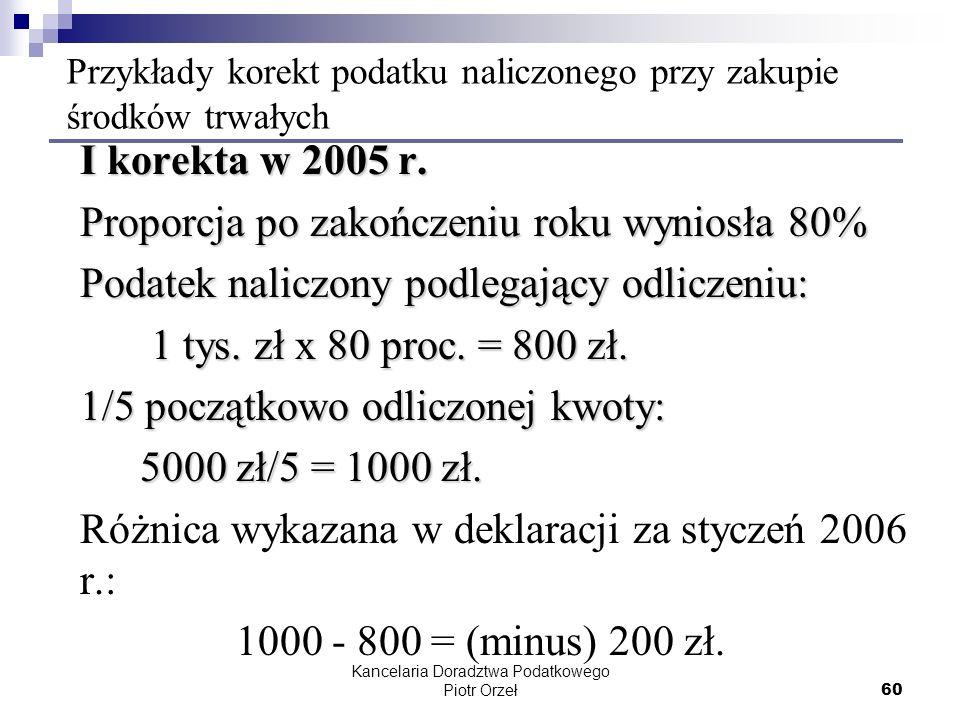 Kancelaria Doradztwa Podatkowego Piotr Orzeł 60 Przykłady korekt podatku naliczonego przy zakupie środków trwałych I korekta w 2005 r. Proporcja po za