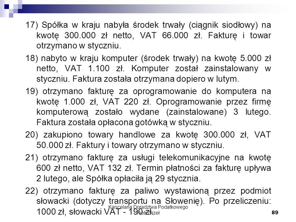 Kancelaria Doradztwa Podatkowego Piotr Orzeł 89 17) Spółka w kraju nabyła środek trwały (ciągnik siodłowy) na kwotę 300.000 zł netto, VAT 66.000 zł. F