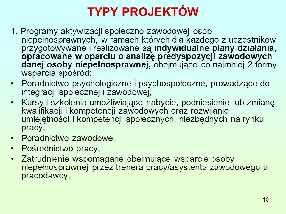 10 TYPY PROJEKTÓW 1.