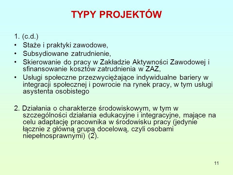 11 TYPY PROJEKTÓW 1.
