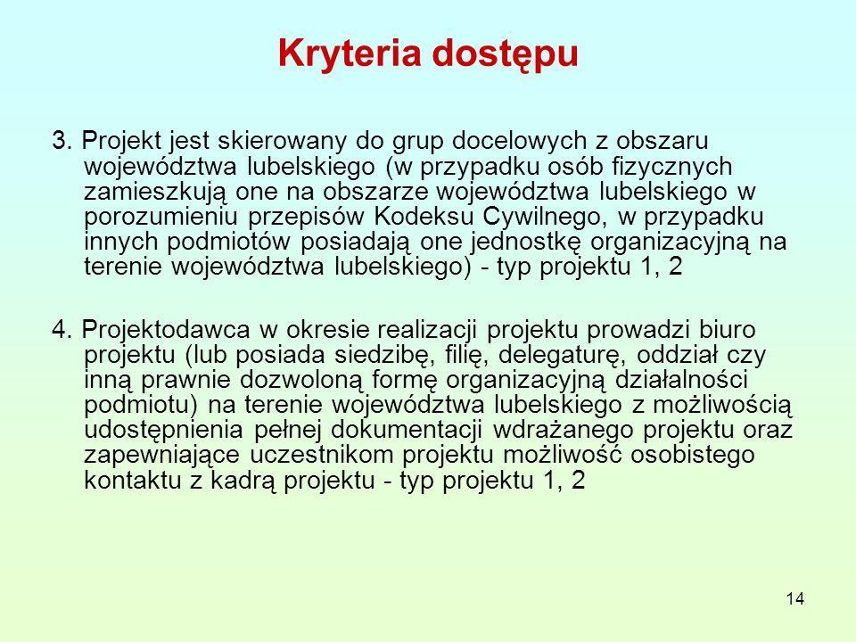 14 Kryteria dostępu 3. Projekt jest skierowany do grup docelowych z obszaru województwa lubelskiego (w przypadku osób fizycznych zamieszkują one na ob
