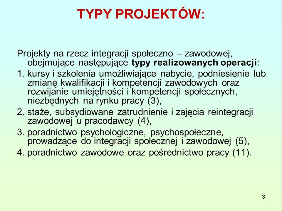 3 TYPY PROJEKTÓW: Projekty na rzecz integracji społeczno – zawodowej, obejmujące następujące typy realizowanych operacji: 1.
