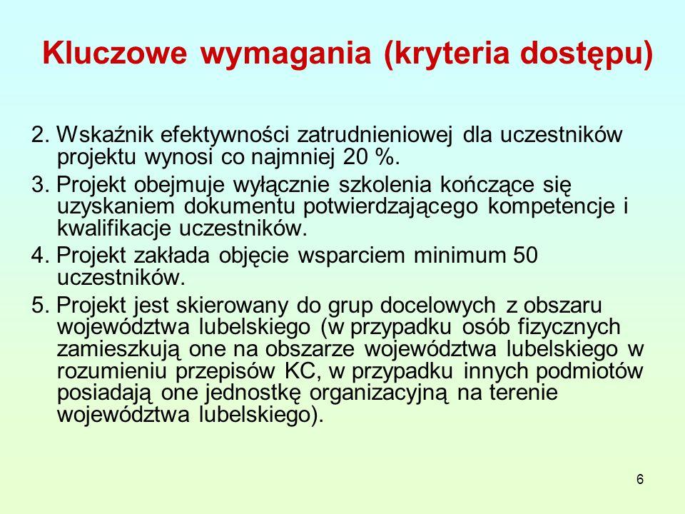 6 Kluczowe wymagania (kryteria dostępu) 2.