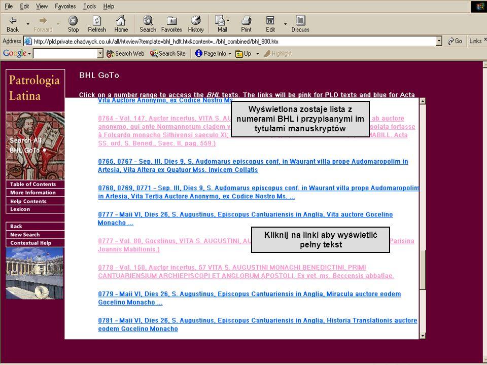 Wyświetlona zostaje lista z numerami BHL i przypisanymi im tytułami manuskryptów Kliknij na linki aby wyświetlić pełny tekst