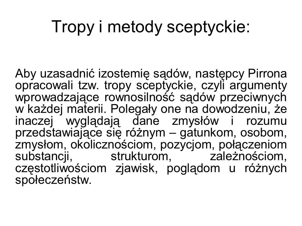 Tropy i metody sceptyckie: Aby uzasadnić izostemię sądów, następcy Pirrona opracowali tzw. tropy sceptyckie, czyli argumenty wprowadzające rownosilnoś