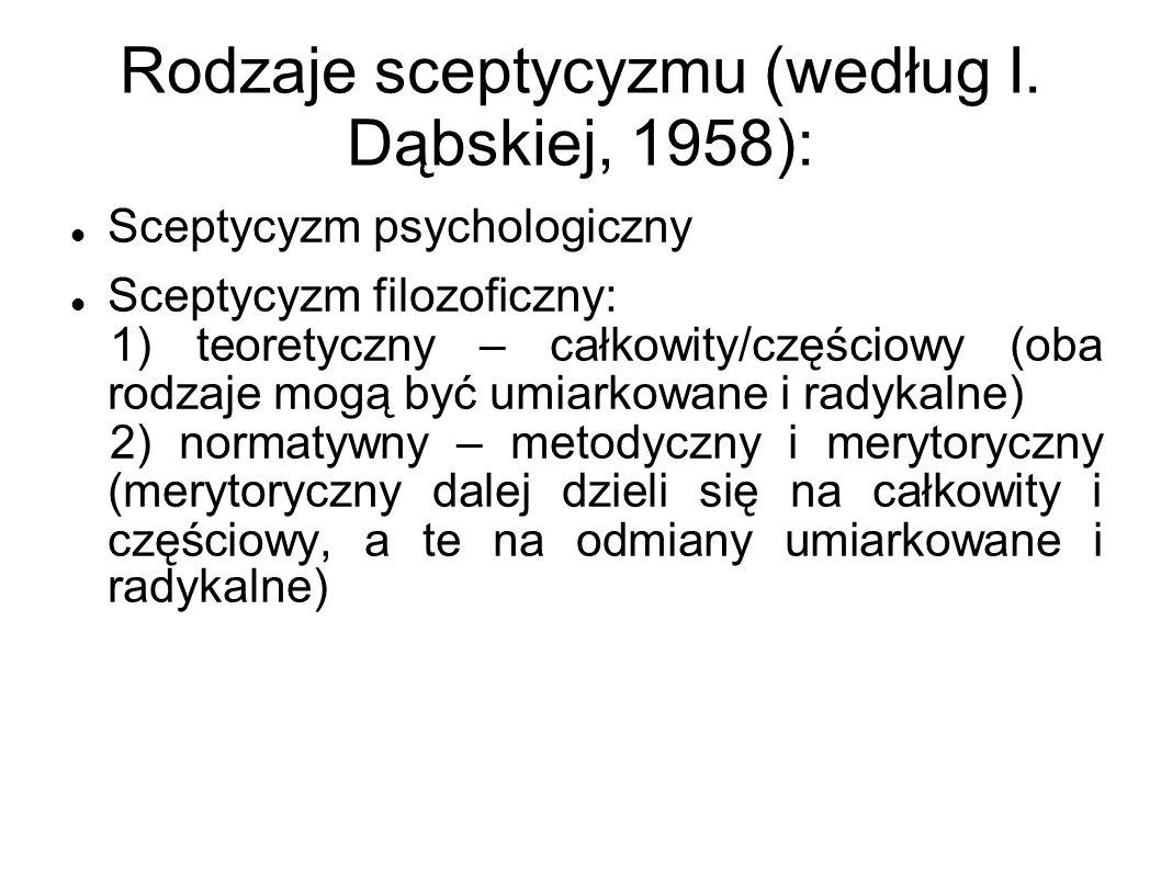 Rodzaje sceptycyzmu (według I. Dąbskiej, 1958): Sceptycyzm psychologiczny Sceptycyzm filozoficzny: 1) teoretyczny – całkowity/częściowy (oba rodzaje m