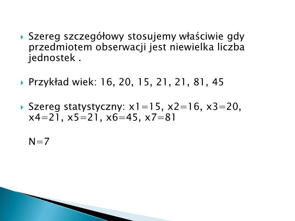 Szereg szczegółowy stosujemy właściwie gdy przedmiotem obserwacji jest niewielka liczba jednostek. Przykład wiek: 16, 20, 15, 21, 21, 81, 45 Szereg st