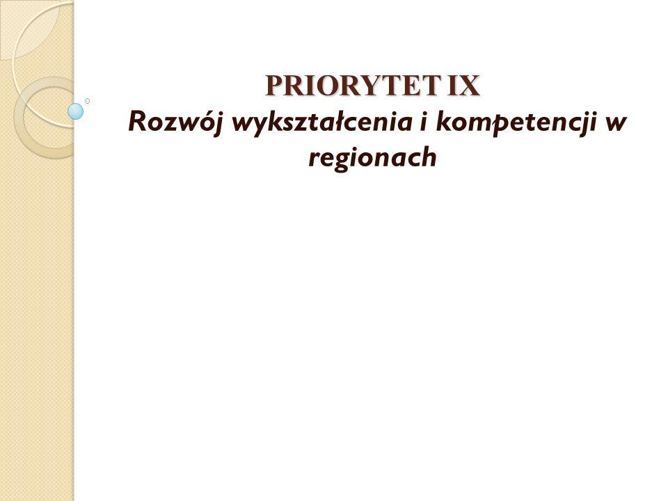 PRIORYTET IX PRIORYTET IX Rozwój wykształcenia i kompetencji w regionach