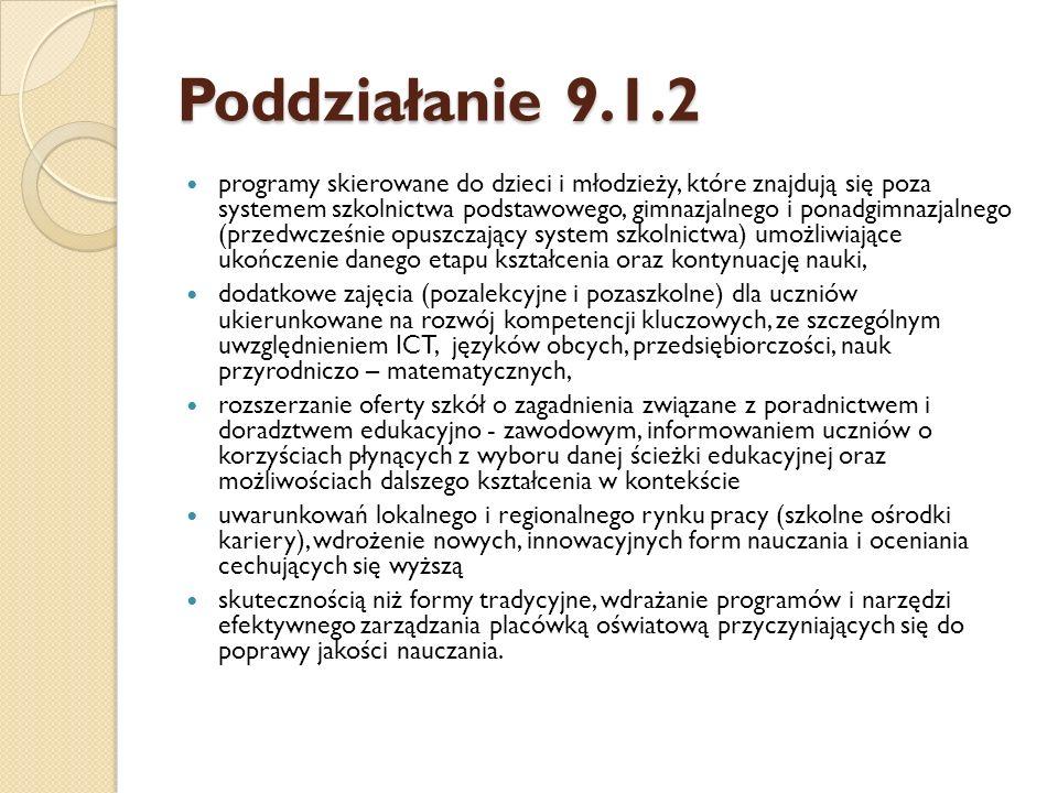 Poddziałanie 9.1.2 Kryteria dostępu (obowiązkowe) 1.