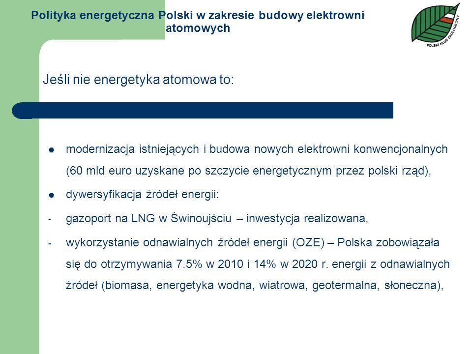 Polityka energetyczna Polski w zakresie budowy elektrowni atomowych modernizacja istniejących i budowa nowych elektrowni konwencjonalnych (60 mld euro