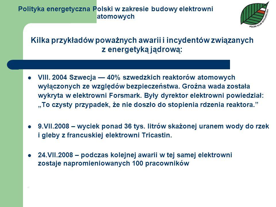 Polityka energetyczna Polski w zakresie budowy elektrowni atomowych VIII. 2004 Szwecja 40% szwedzkich reaktorów atomowych wyłączonych ze względów bezp