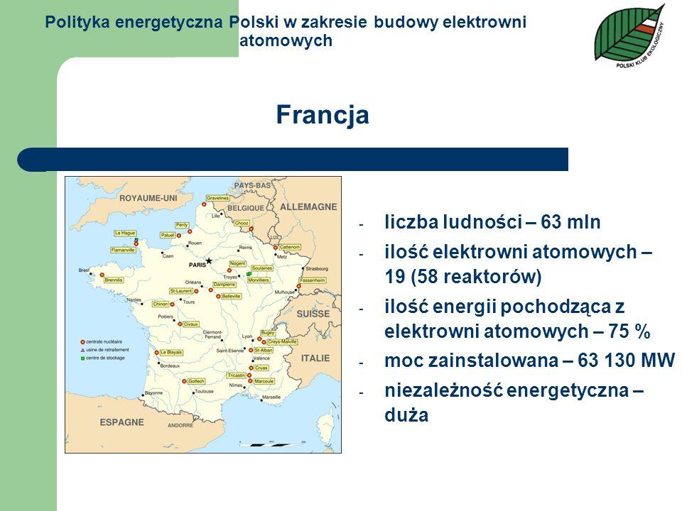 Polityka energetyczna Polski w zakresie budowy elektrowni atomowych - liczba ludności – 63 mln - ilość elektrowni atomowych – 19 (58 reaktorów) - iloś