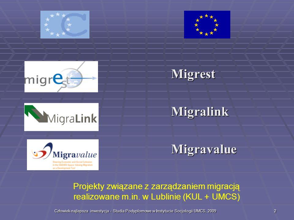 Człowiek-najlepsza inwestycja - Studia Podyplomowe w Instytucie Socjologii UMCS, 20092 Migrest Migrest Migralink Migralink Migravalue Migravalue Projekty związane z zarządzaniem migracją realizowane m.in.