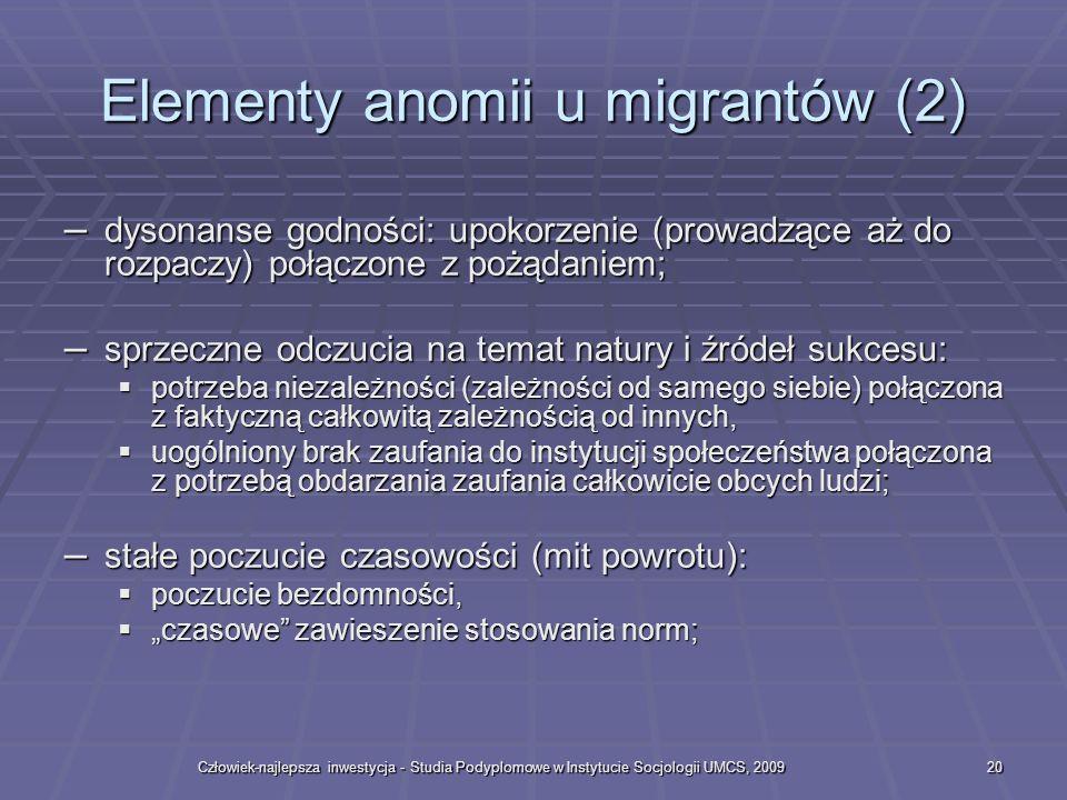 Człowiek-najlepsza inwestycja - Studia Podyplomowe w Instytucie Socjologii UMCS, 200920 Elementy anomii u migrantów (2) – dysonanse godności: upokorze