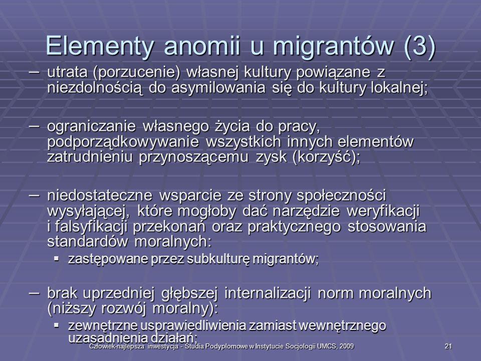 Człowiek-najlepsza inwestycja - Studia Podyplomowe w Instytucie Socjologii UMCS, 200921 Elementy anomii u migrantów (3) – utrata (porzucenie) własnej