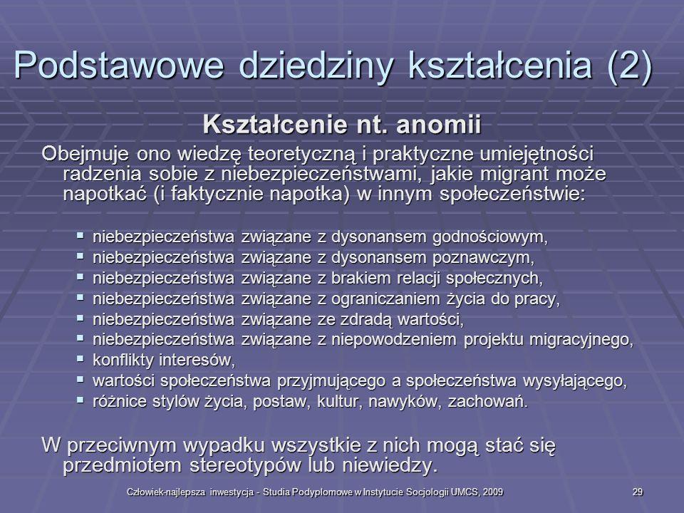 Człowiek-najlepsza inwestycja - Studia Podyplomowe w Instytucie Socjologii UMCS, 200929 Kształcenie nt.