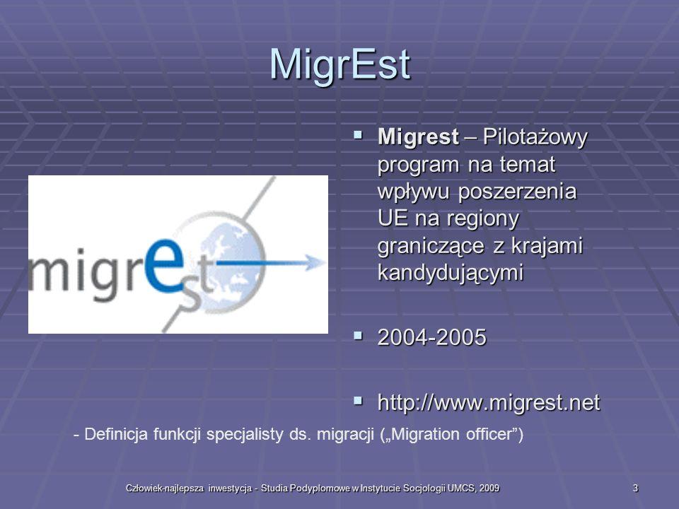 Człowiek-najlepsza inwestycja - Studia Podyplomowe w Instytucie Socjologii UMCS, 20093 MigrEst Migrest – Pilotażowy program na temat wpływu poszerzenia UE na regiony graniczące z krajami kandydującymi Migrest – Pilotażowy program na temat wpływu poszerzenia UE na regiony graniczące z krajami kandydującymi 2004-2005 2004-2005 http://www.migrest.net http://www.migrest.net - Definicja funkcji specjalisty ds.