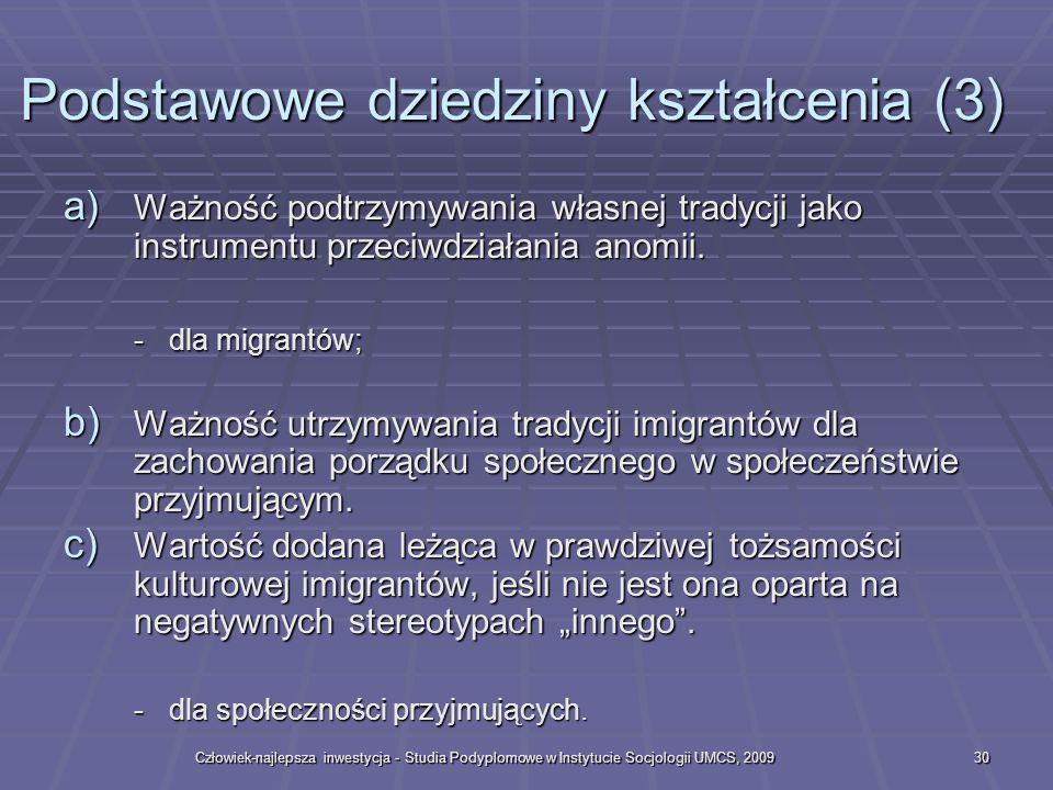 Człowiek-najlepsza inwestycja - Studia Podyplomowe w Instytucie Socjologii UMCS, 200930 a) Ważność podtrzymywania własnej tradycji jako instrumentu przeciwdziałania anomii.