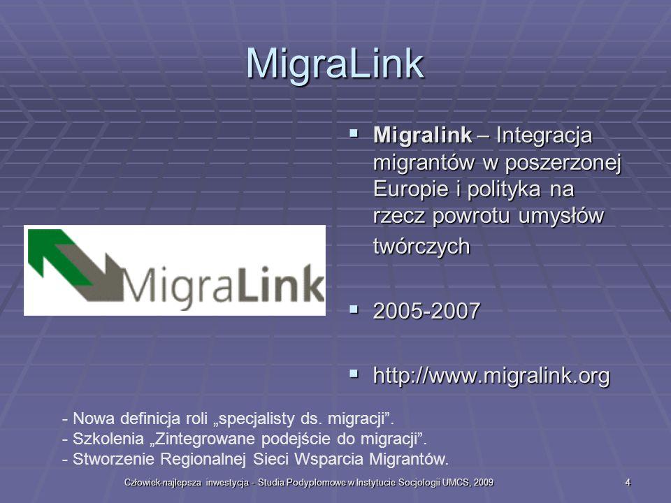 Człowiek-najlepsza inwestycja - Studia Podyplomowe w Instytucie Socjologii UMCS, 20094 MigraLink Migralink – Integracja migrantów w poszerzonej Europie i polityka na rzecz powrotu umysłów twórczych Migralink – Integracja migrantów w poszerzonej Europie i polityka na rzecz powrotu umysłów twórczych 2005-2007 2005-2007 http://www.migralink.org http://www.migralink.org - Nowa definicja roli specjalisty ds.