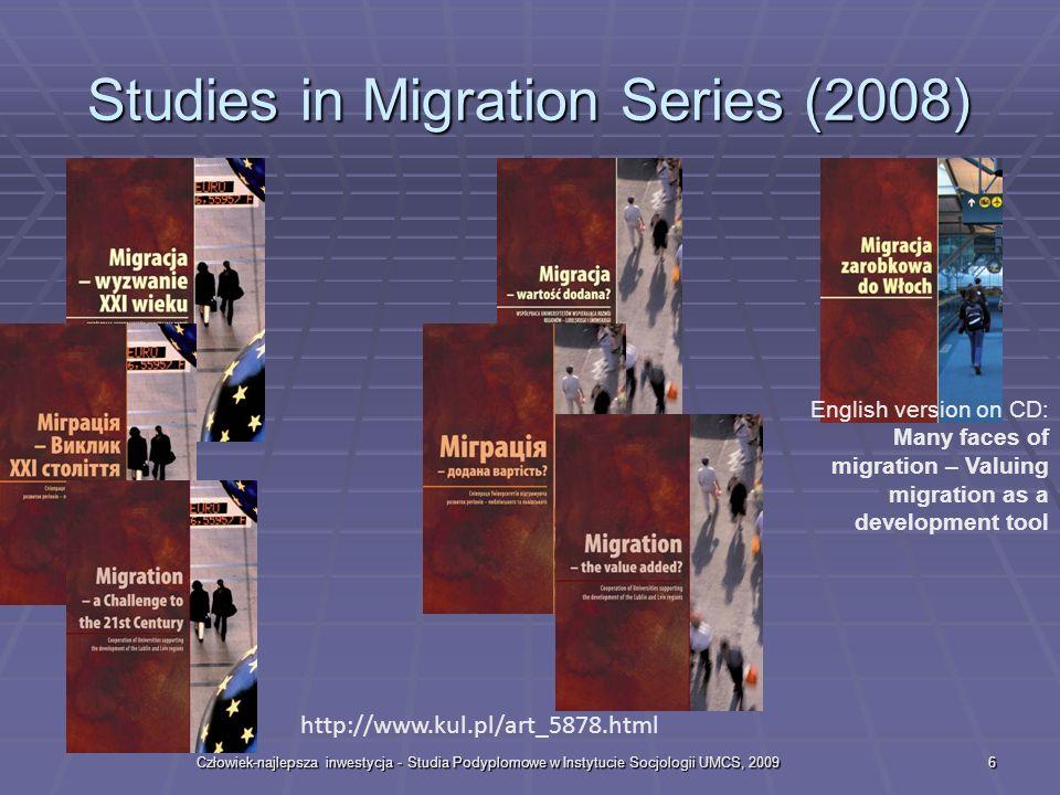 Człowiek-najlepsza inwestycja - Studia Podyplomowe w Instytucie Socjologii UMCS, 20096 Studies in Migration Series (2008) http://www.kul.pl/art_5878.html English version on CD: Many faces of migration – Valuing migration as a development tool