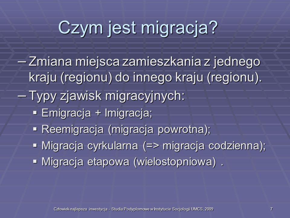 Człowiek-najlepsza inwestycja - Studia Podyplomowe w Instytucie Socjologii UMCS, 20097 Czym jest migracja.