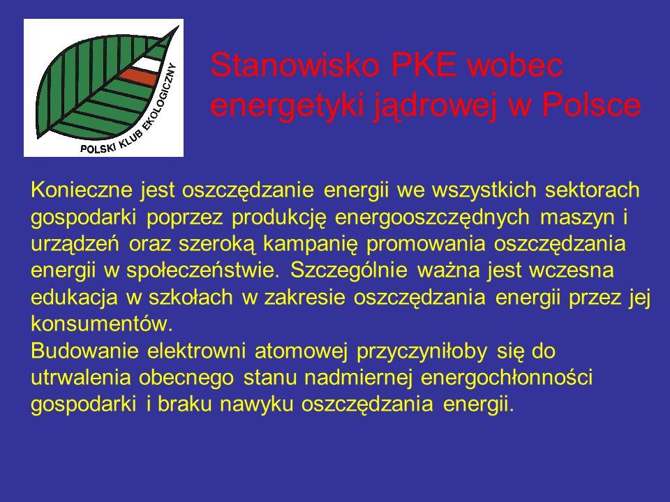 Stanowisko PKE wobec energetyki jądrowej w Polsce Konieczne jest oszczędzanie energii we wszystkich sektorach gospodarki poprzez produkcję energooszczędnych maszyn i urządzeń oraz szeroką kampanię promowania oszczędzania energii w społeczeństwie.