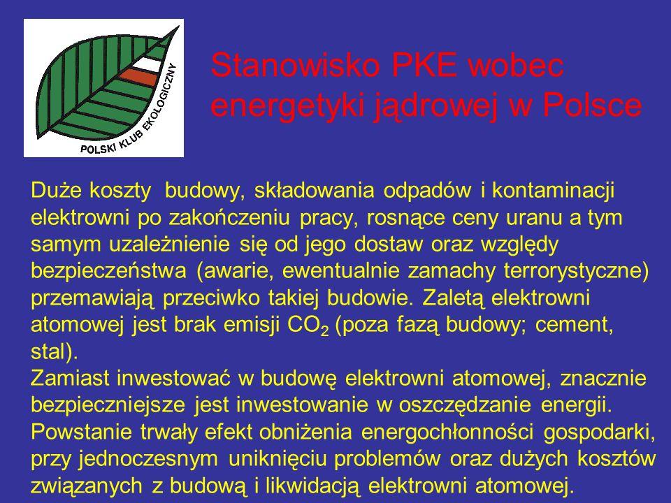 Stanowisko PKE wobec energetyki jądrowej w Polsce Duże koszty budowy, składowania odpadów i kontaminacji elektrowni po zakończeniu pracy, rosnące ceny uranu a tym samym uzależnienie się od jego dostaw oraz względy bezpieczeństwa (awarie, ewentualnie zamachy terrorystyczne) przemawiają przeciwko takiej budowie.