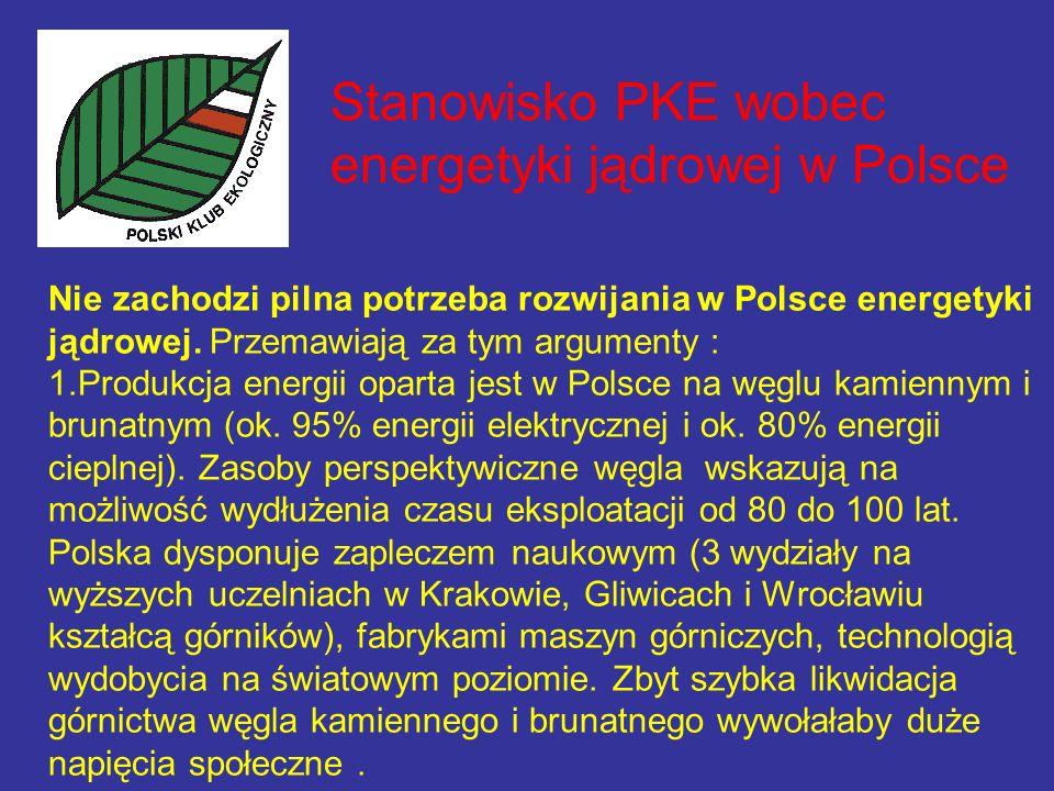 Stanowisko PKE wobec energetyki jądrowej w Polsce Nie zachodzi pilna potrzeba rozwijania w Polsce energetyki jądrowej.