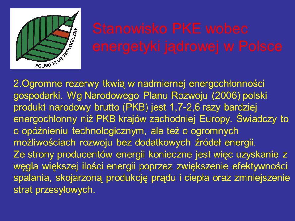 Stanowisko PKE wobec energetyki jądrowej w Polsce 2.Ogromne rezerwy tkwią w nadmiernej energochłonności gospodarki.