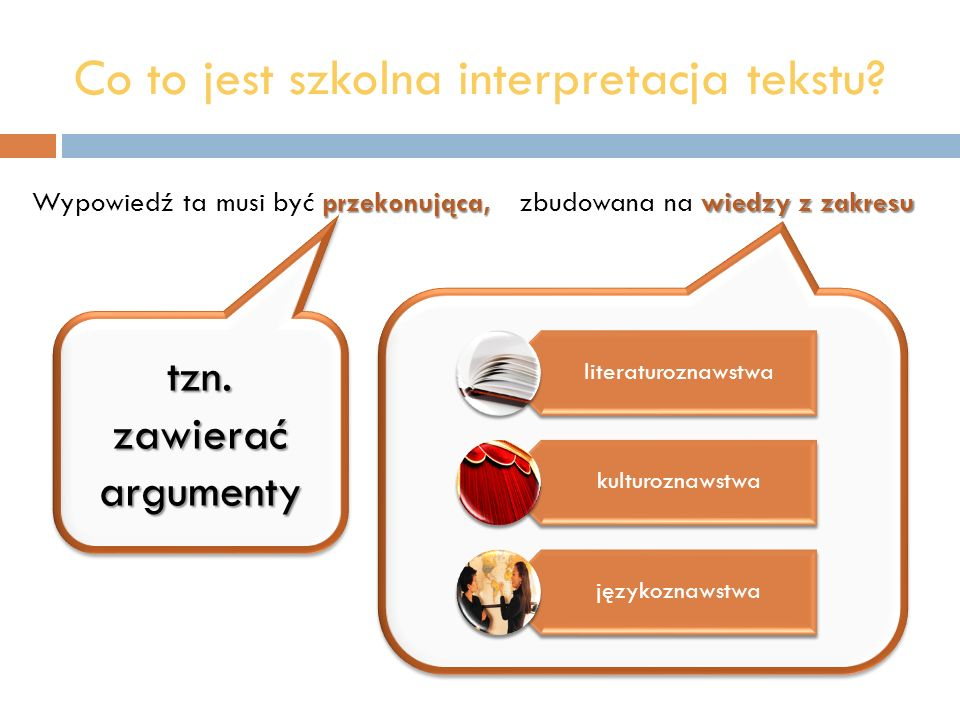 Co to jest szkolna interpretacja tekstu? przekonująca, Wypowiedź ta musi być przekonująca, tzn. zawierać argumenty wiedzy z zakresu zbudowana na wiedz