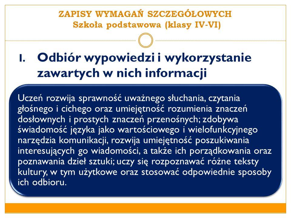 I.Odbiór wypowiedzi i wykorzystanie zawartych w nich informacji 1.