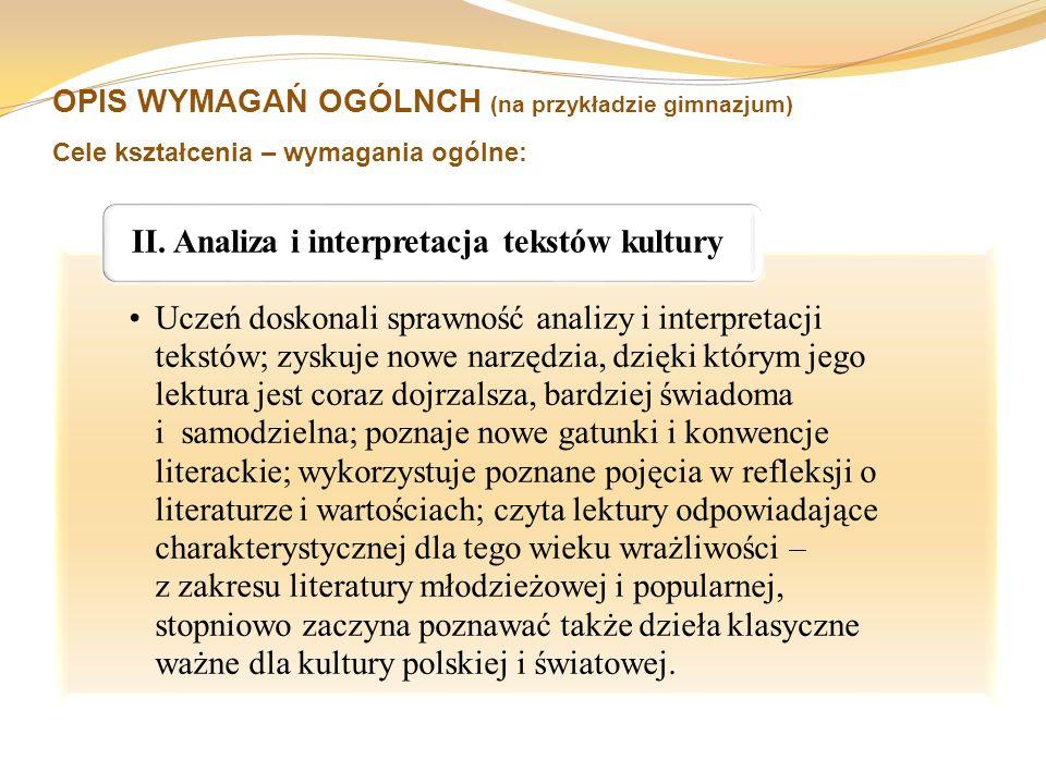 OPIS WYMAGAŃ OGÓLNCH (na przykładzie gimnazjum) Cele kształcenia – wymagania ogólne: Uczeń doskonali sprawność analizy i interpretacji tekstów; zyskuj
