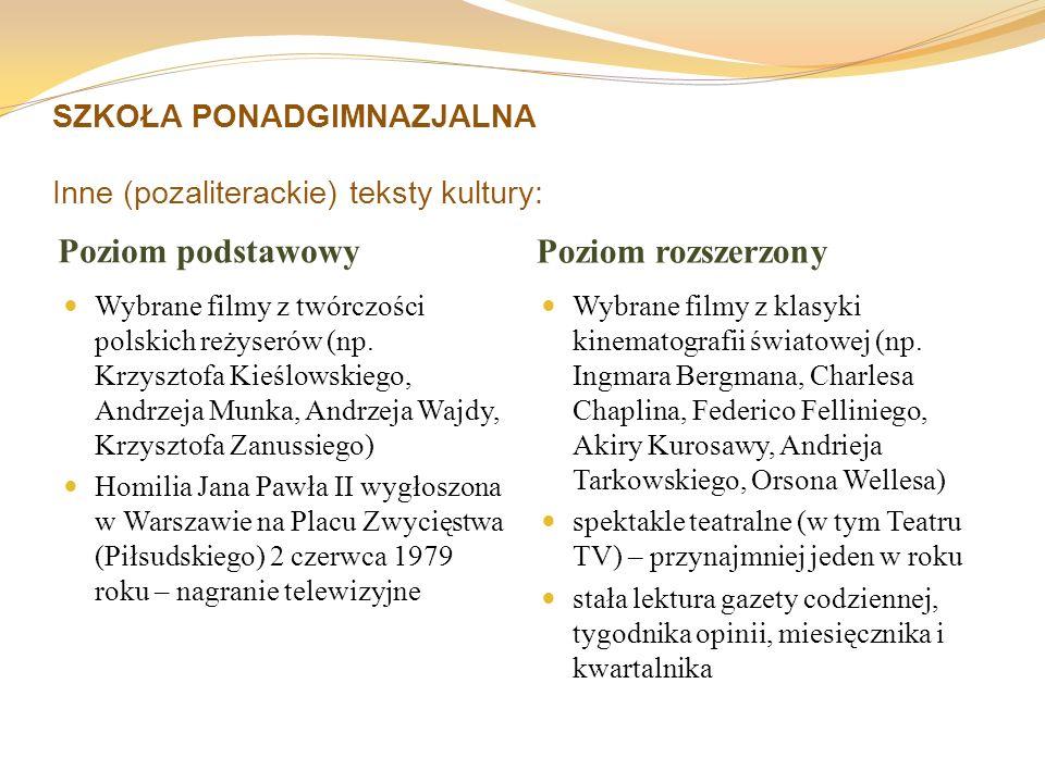 SZKOŁA PONADGIMNAZJALNA Inne (pozaliterackie) teksty kultury: Poziom podstawowy Poziom rozszerzony Wybrane filmy z twórczości polskich reżyserów (np.